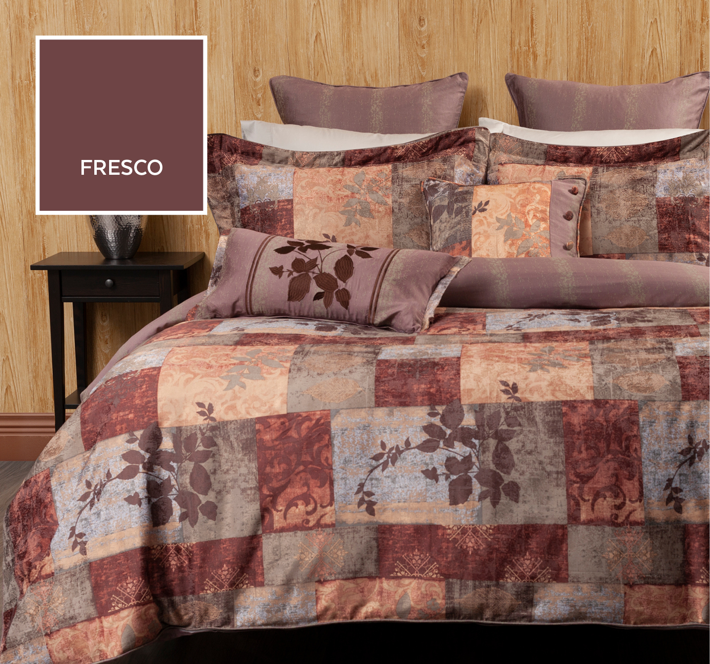 Fresco Duvet Cover with Brown and Taupe Print