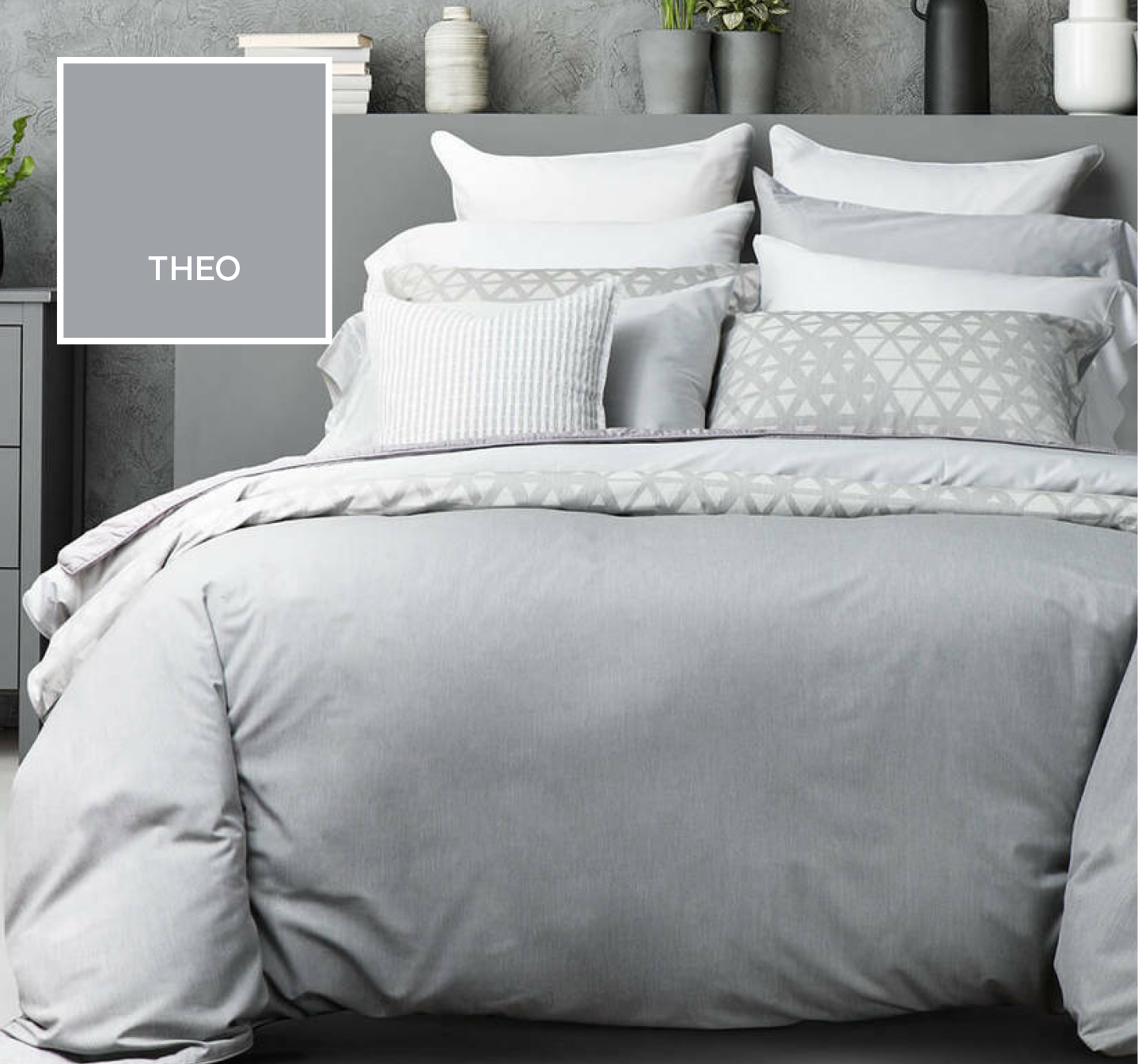 Theo Grey Duvet Cover